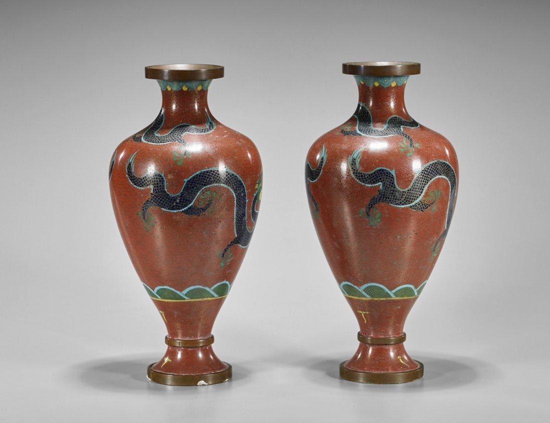 Pair Old Chinese Cloisonne Enamel Dragon Vases - 2