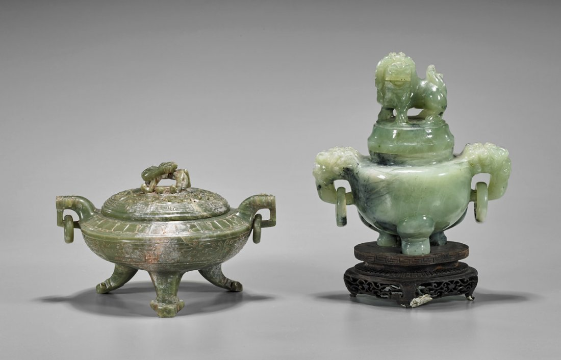 Two Chinese Carved Tripod Censers: Bowenite & Hardstone