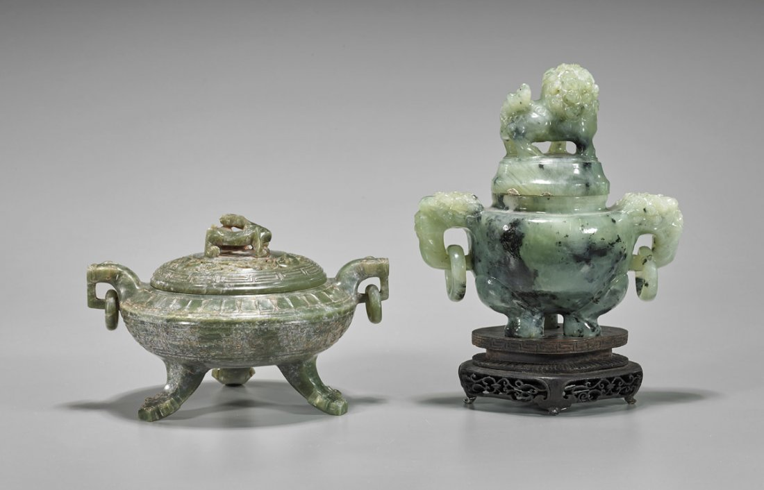 Two Chinese Carved Tripod Censers: Bowenite & Hardstone - 2