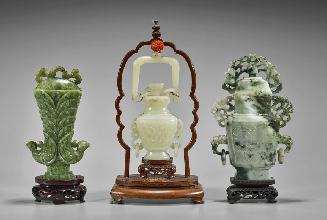 Three Chinese Carved Vessels: Serpentine & Bowenite