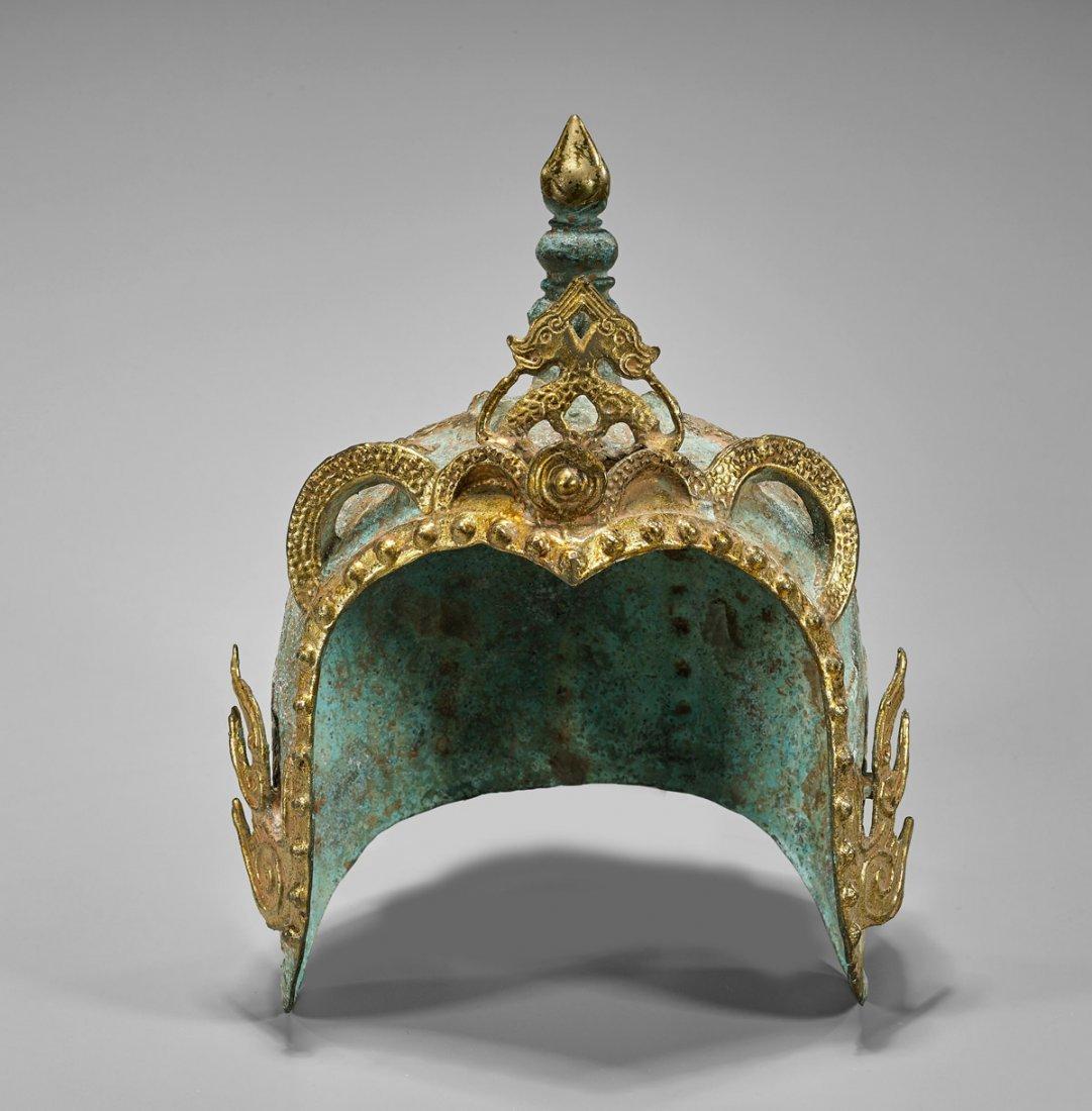 Chinese Parcel Gilt Bronze Helmet