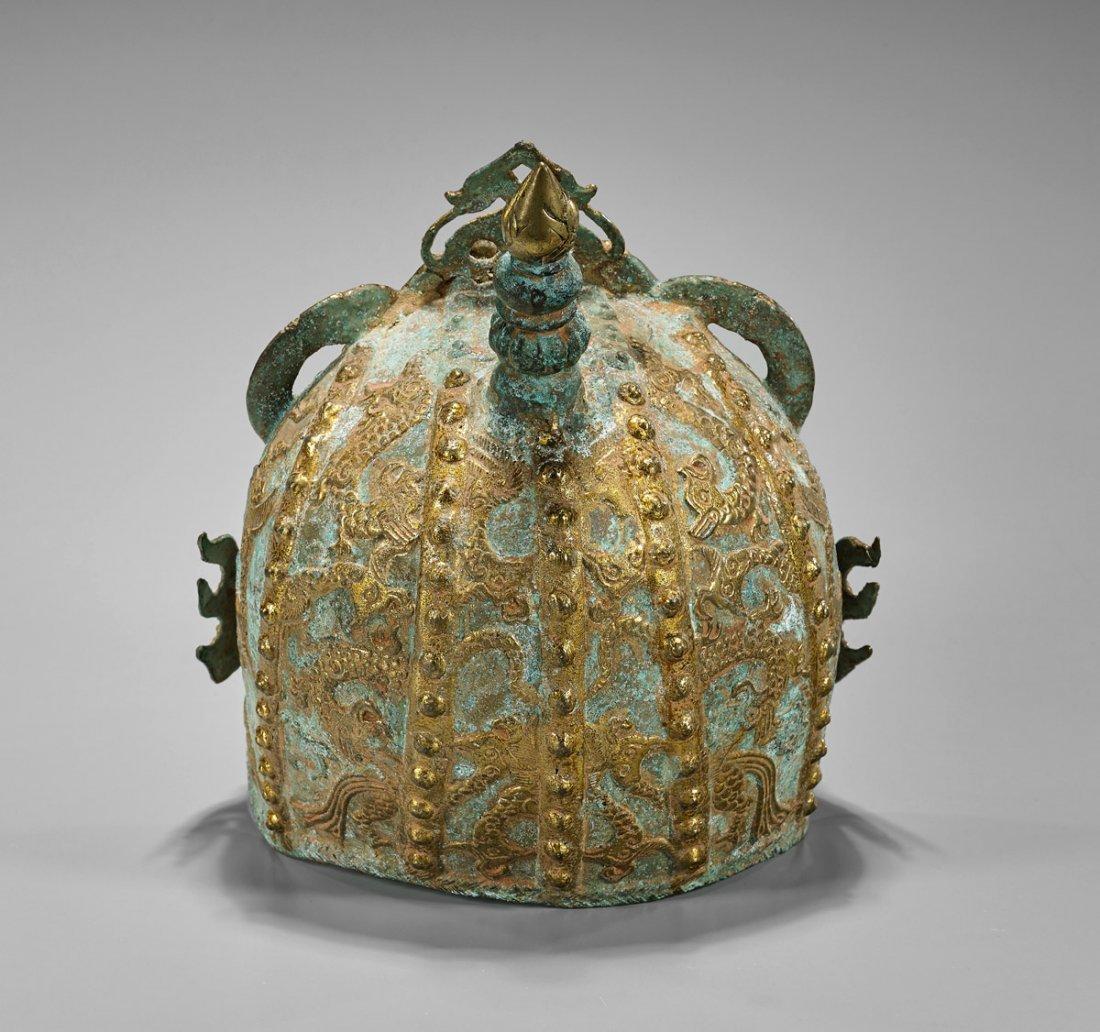 Chinese Parcel Gilt Bronze Helmet - 2