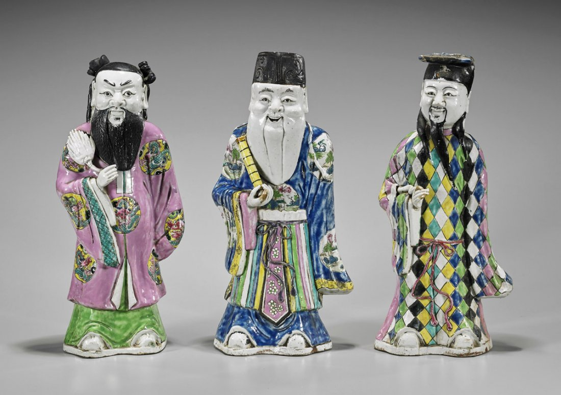 Three Antique Chinese Porcelain Star Gods