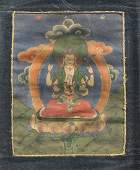 Small Sino-Tibetan Painted Linen Thangka: White Tara