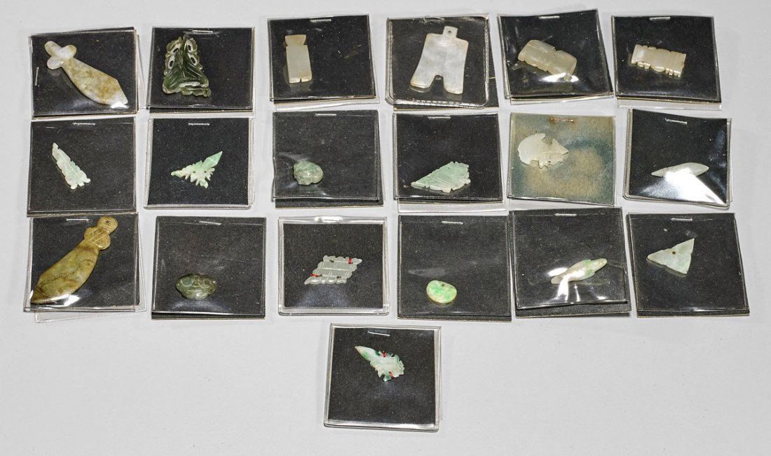 Thirty-Two Chinese Jades, Jadeites & Hardstone Plaques