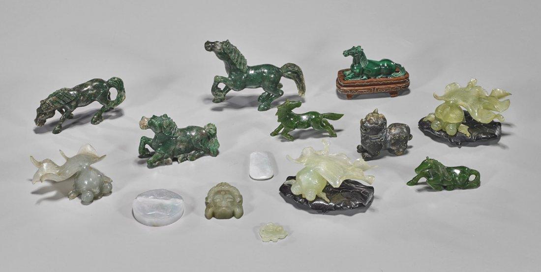 Fourteen Chinese Jade/Hardstone Carvings