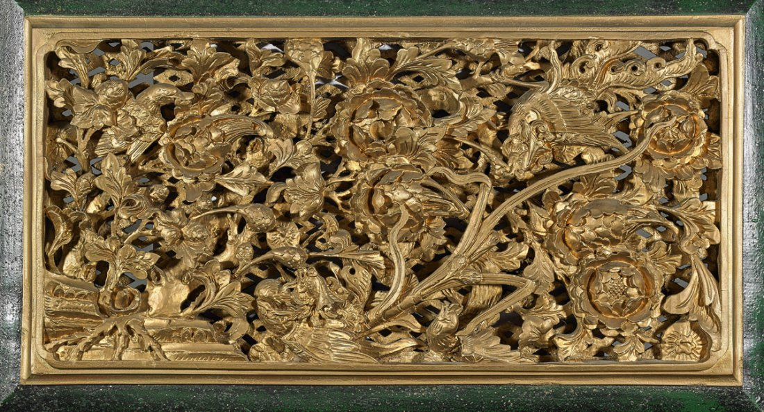Chinese Gilt & Lacquered Wood Plaque