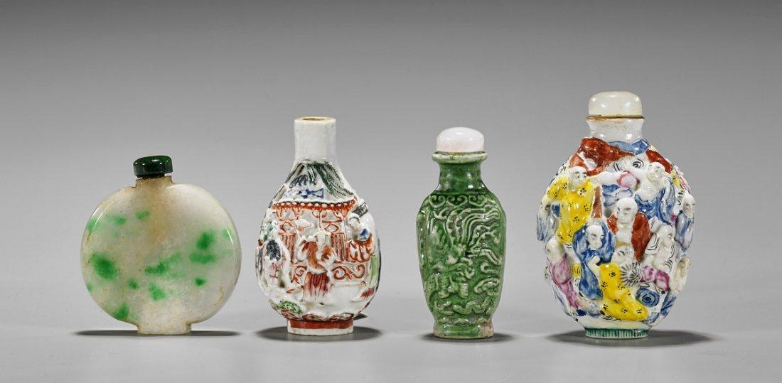 Four Snuff Bottles: Jadeite & Ceramic