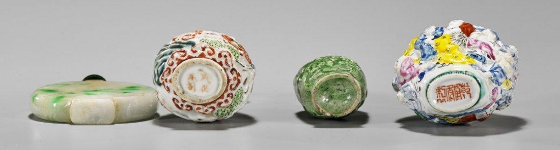 Four Snuff Bottles: Jadeite & Ceramic - 2