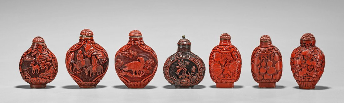 Seven Red Lacquer-Like Snuff Bottles