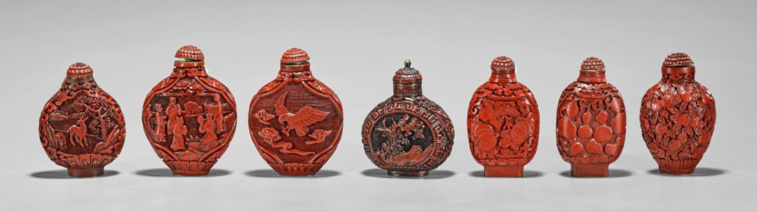 Seven Red Lacquer-Like Snuff Bottles - 2