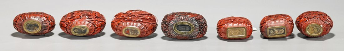 Seven Red Lacquer-Like Snuff Bottles - 3