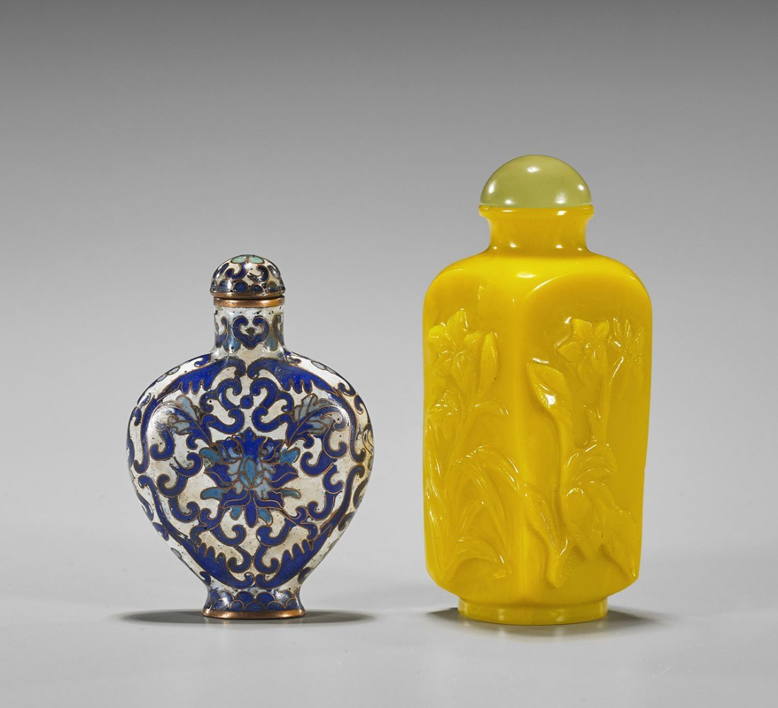Two Snuff Bottles: Beijing Glass & Cloisonne