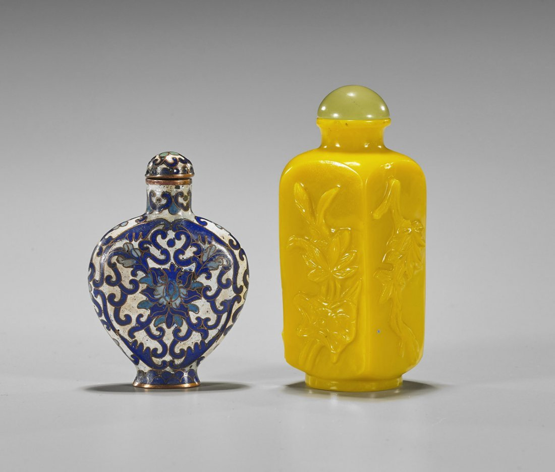 Two Snuff Bottles: Beijing Glass & Cloisonne - 2