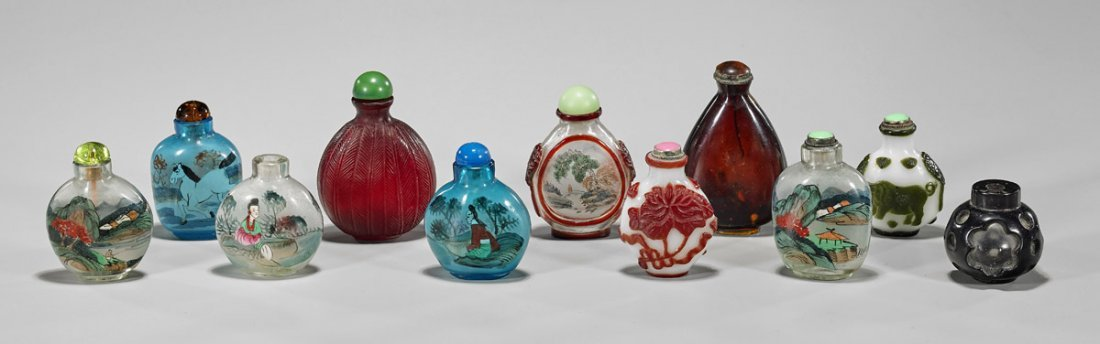 Group of Eleven Glass Snuff Bottles
