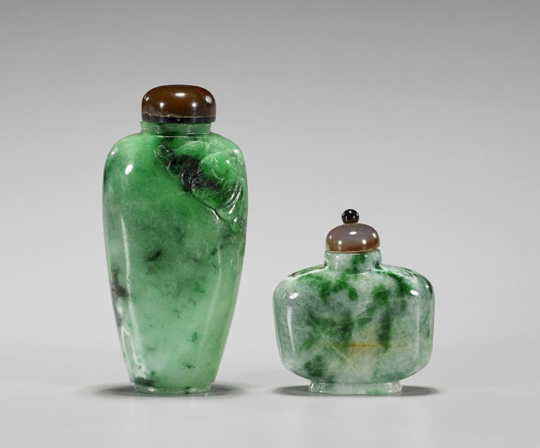 Two Chinese Carved Jadeite Snuff Bottles