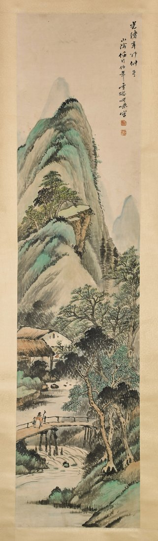 Two Chinese Paper Scrolls: Village & Mountains