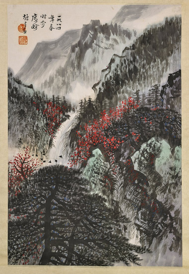Two Chinese Paper Scrolls: Village & Mountains - 3