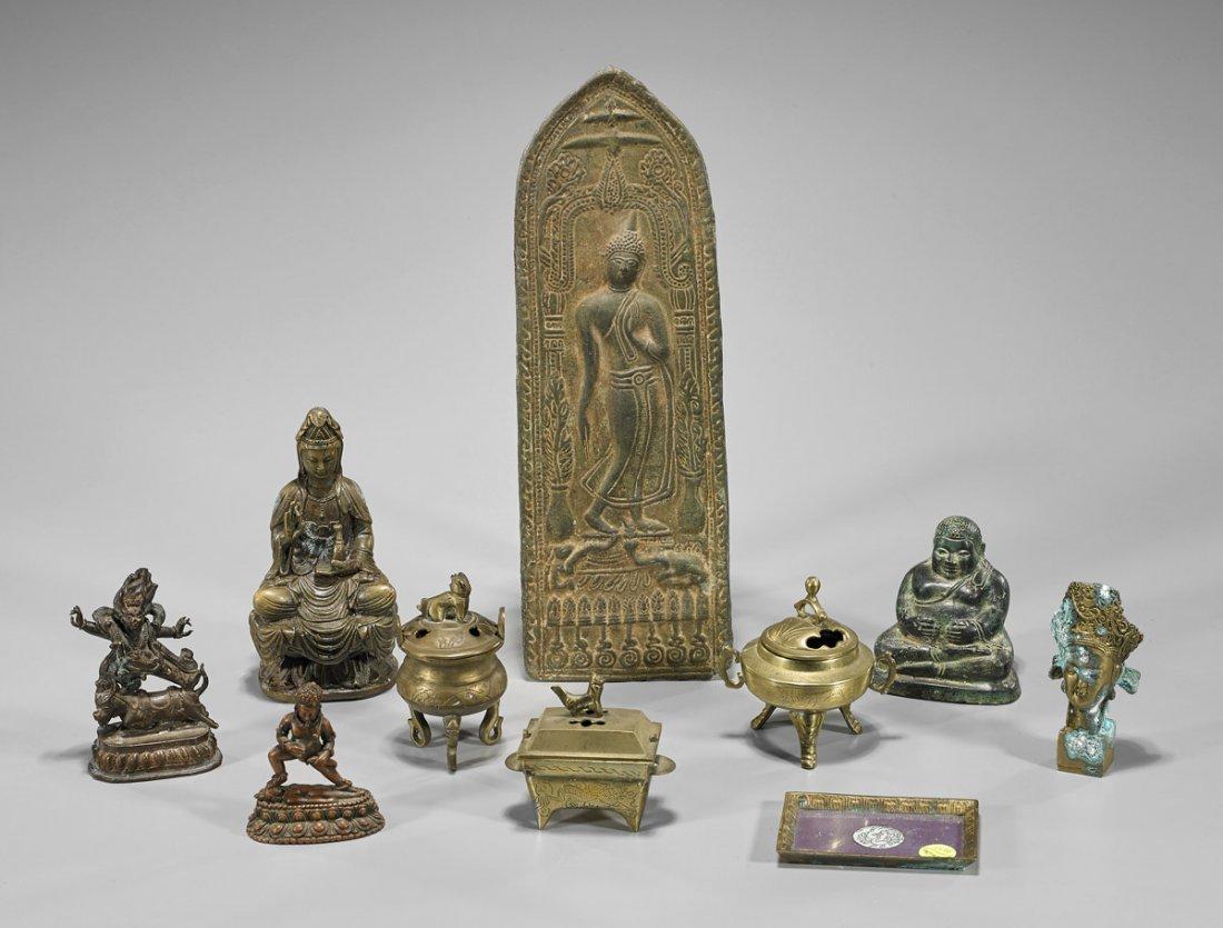 Ten Various Asian Metalwork Items: Vessels & Deities