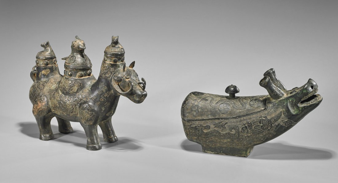 Two Chinese Archaistic Bronze Vessels