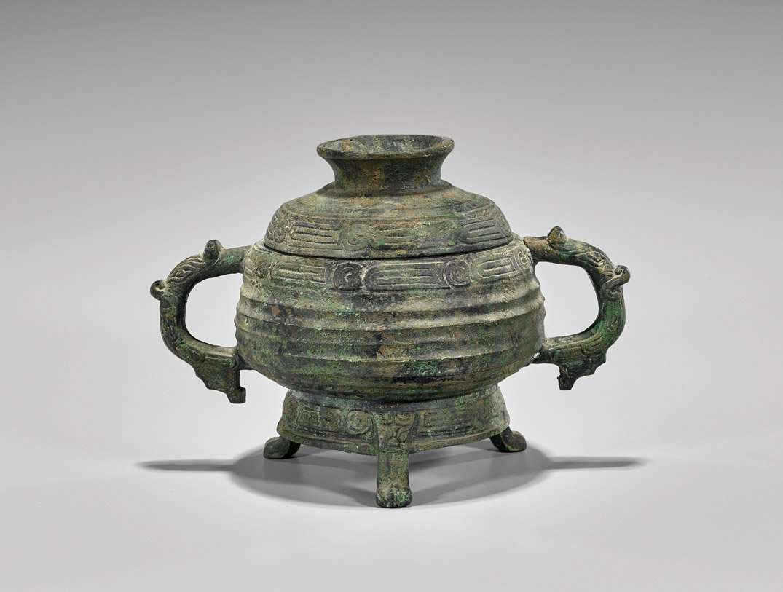 Antique Zhou-Style Bronze Gui Vessel