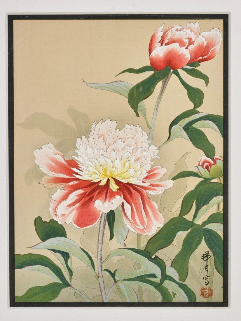 Two Japanese Woodblock Prints by Zuigetsu Ikeda: Lilies