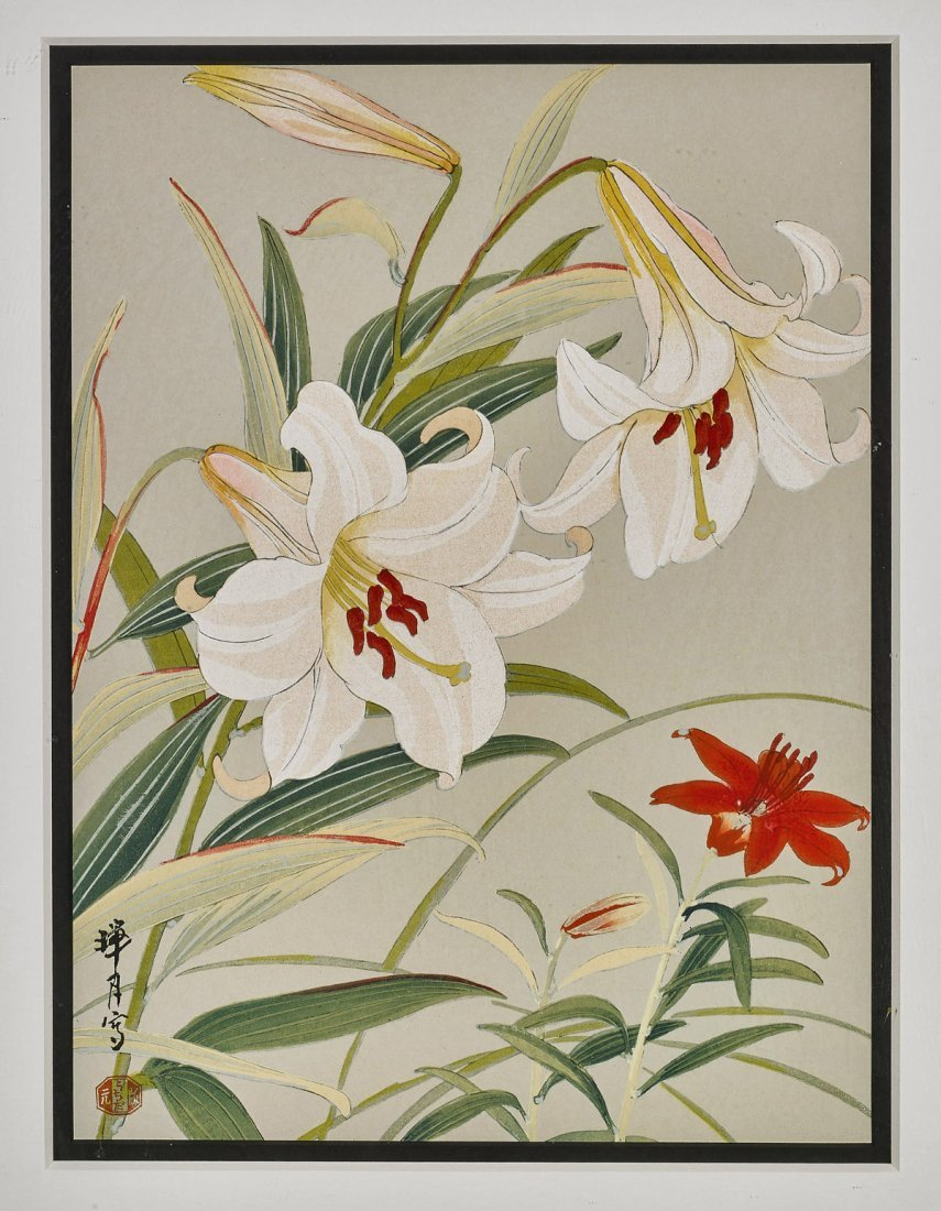 Two Japanese Woodblock Prints by Zuigetsu Ikeda: Lilies - 3