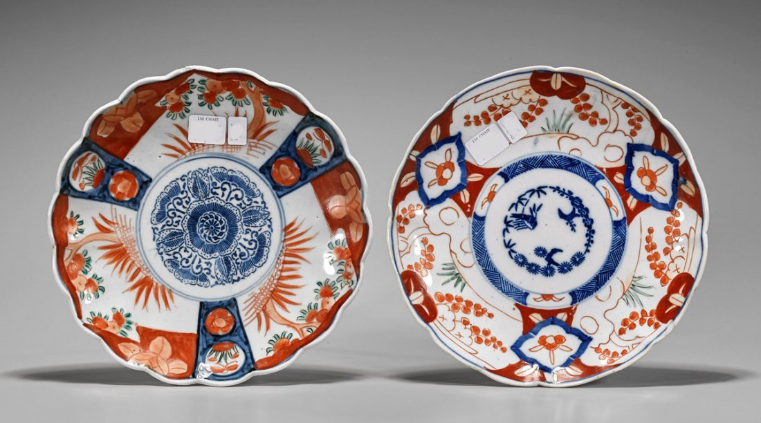Pair Antique Japanese Imari Porcelain Plates