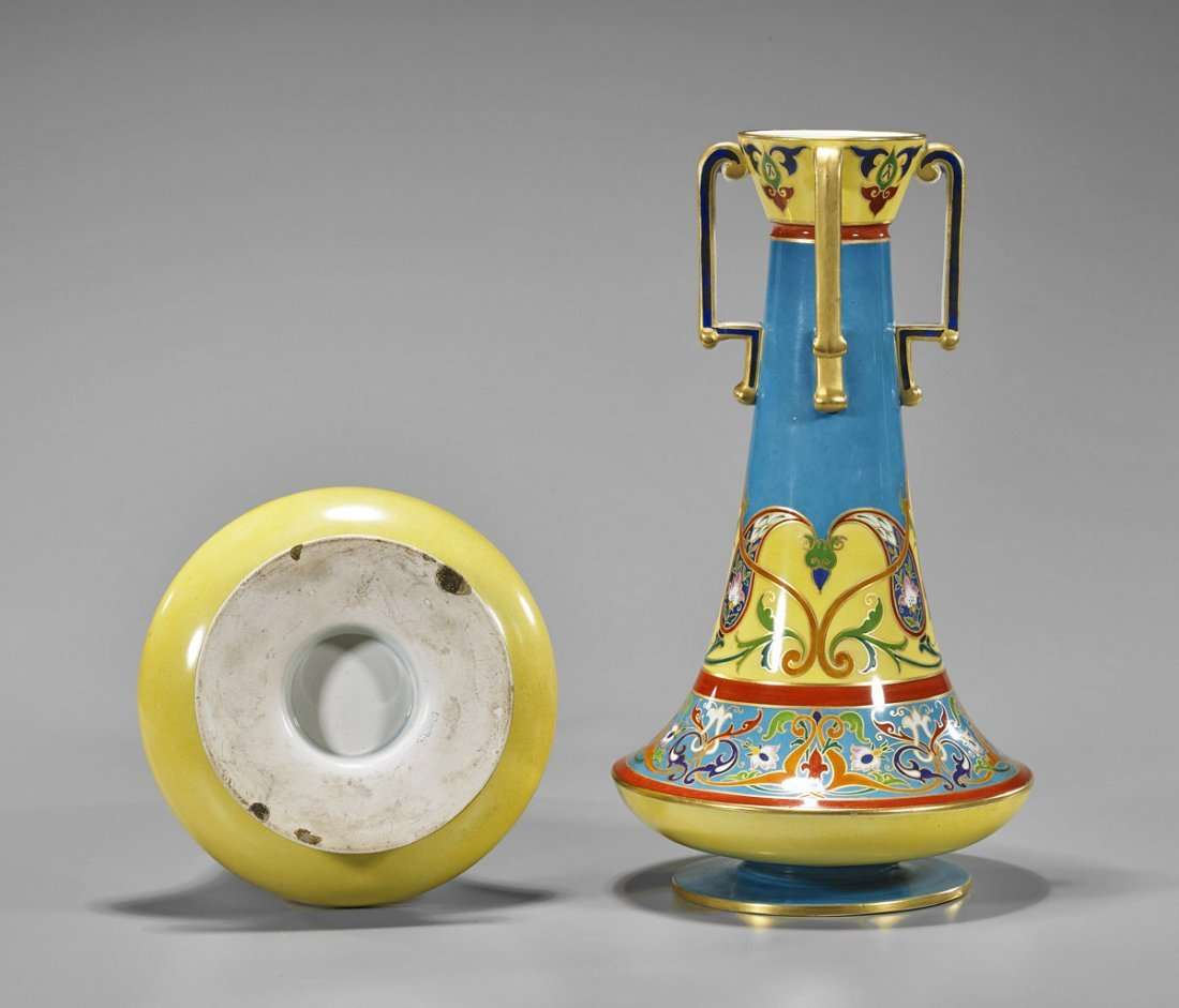 Pair French Gilt Ceramic Vases - 2