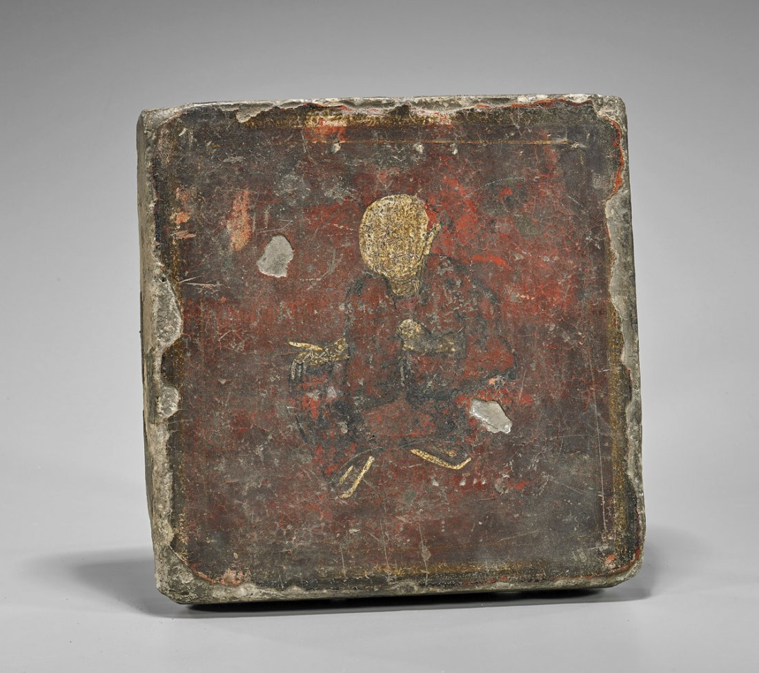 Antique Chinese Painted Stone Tablet