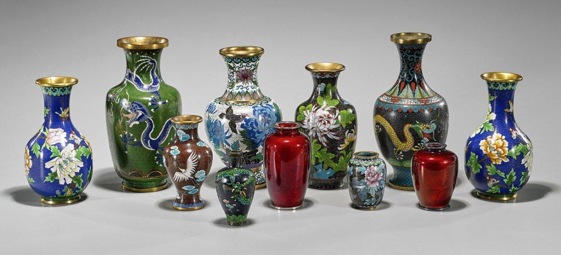 Eleven Old & Antique Cloisonne Enamel Vases