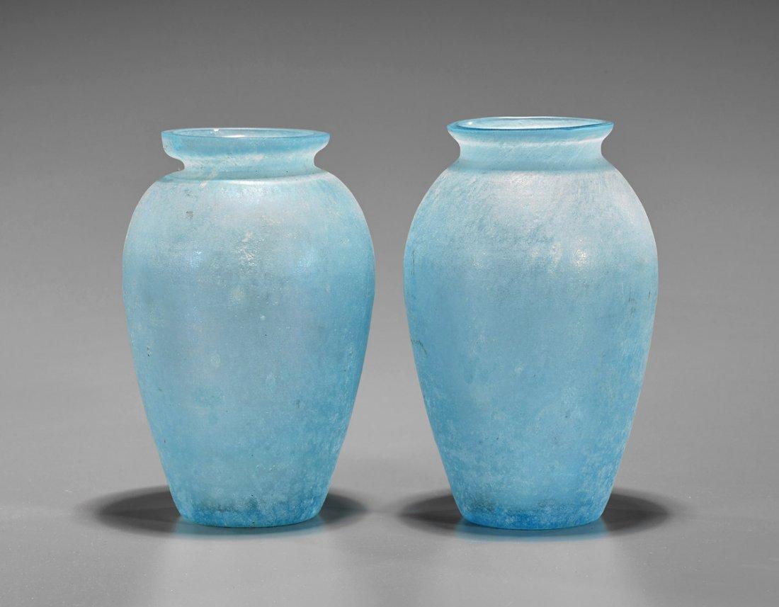 Pair Old Art Glass Vases