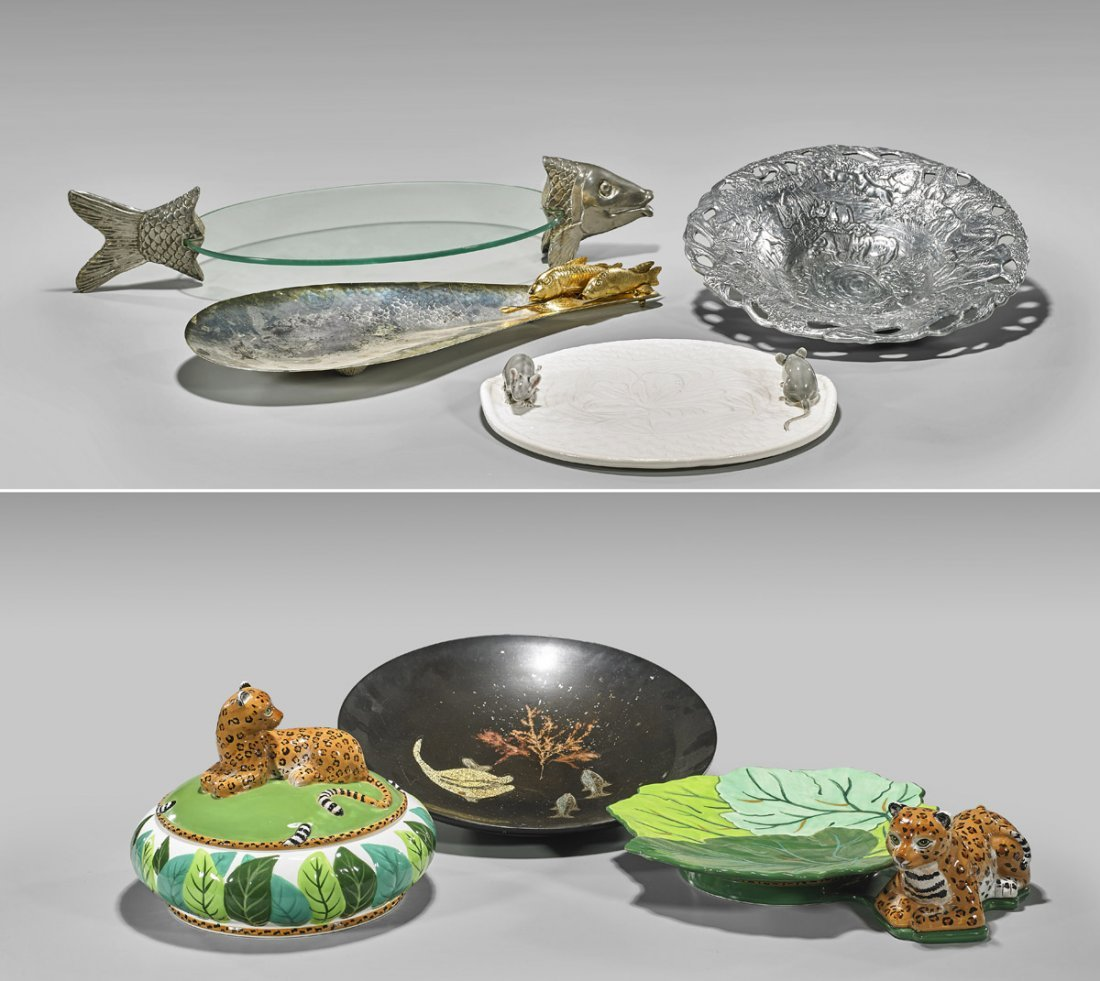 Group of Assorted Dishware: Animal Motifs