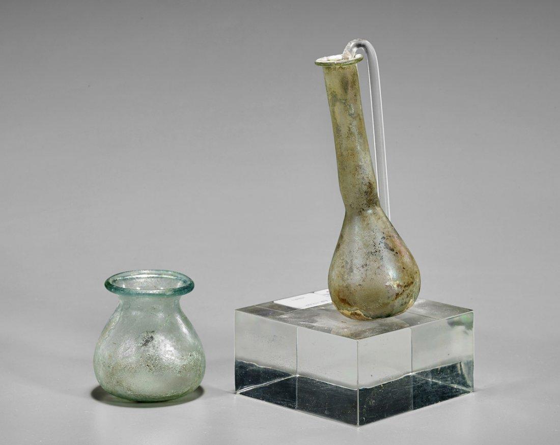 Two Roman Glass Vessels: Ungentarium & Jarlet