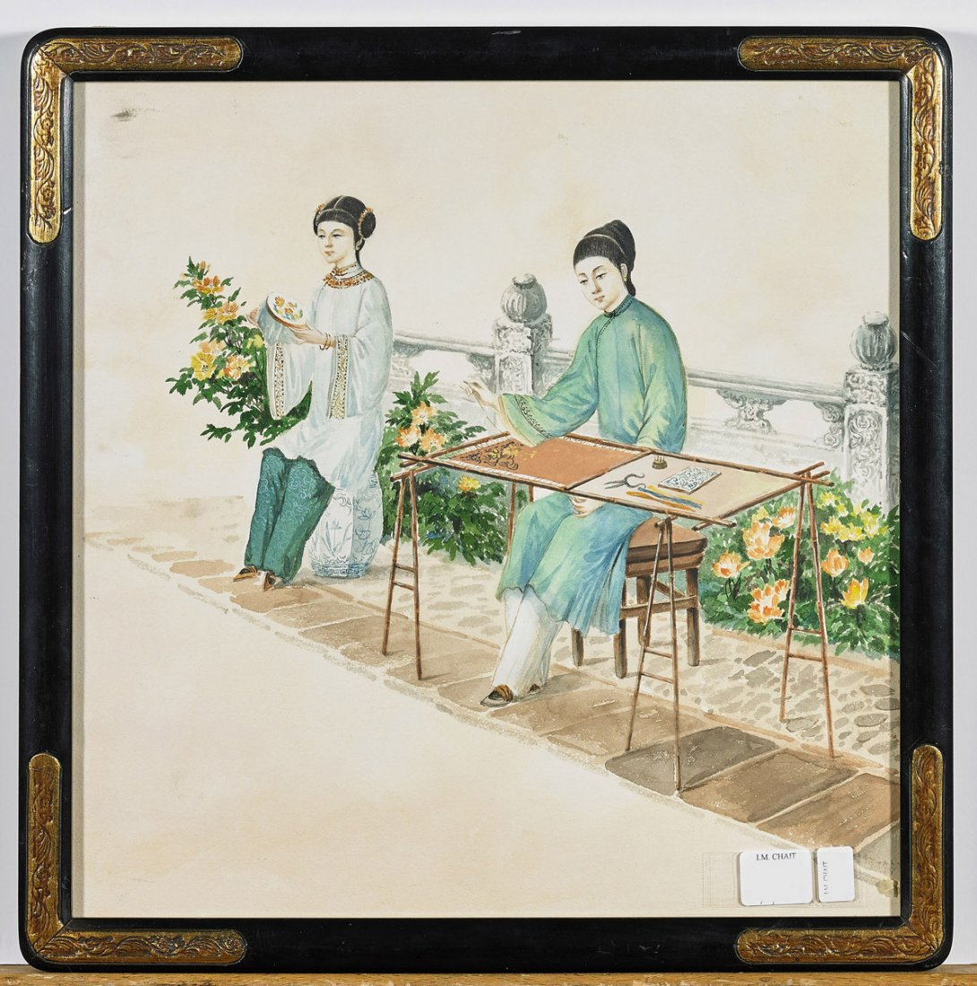 Four Antique Chinese Watercolor Paintings: Court Ladies - 2