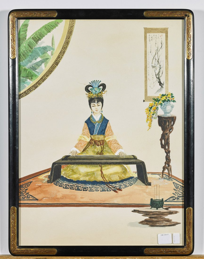 Four Antique Chinese Watercolor Paintings: Court Ladies - 3