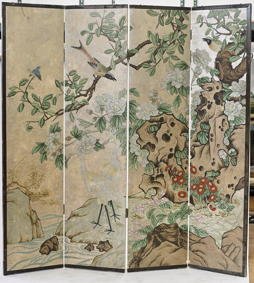 Japanese Four-Panel Screen: Floral Landscape