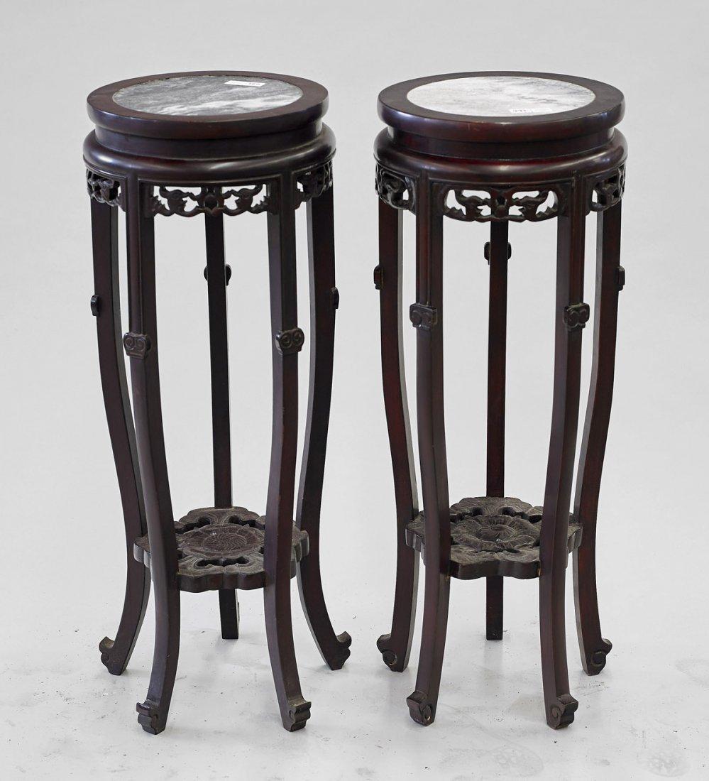 Pair Chinese Carved Hardwood & Marble Pedestals