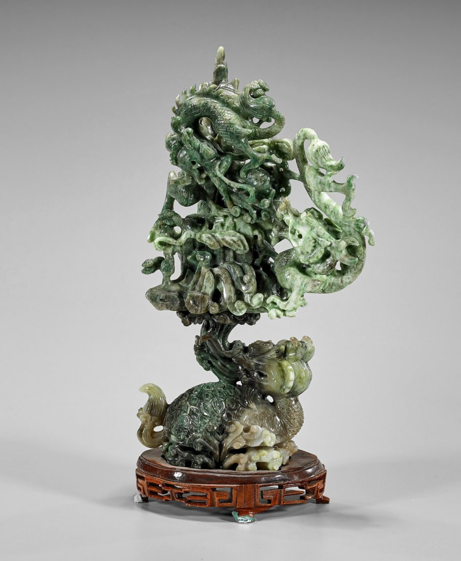 Chinese Carved Sectional Group: Dragon Turtle