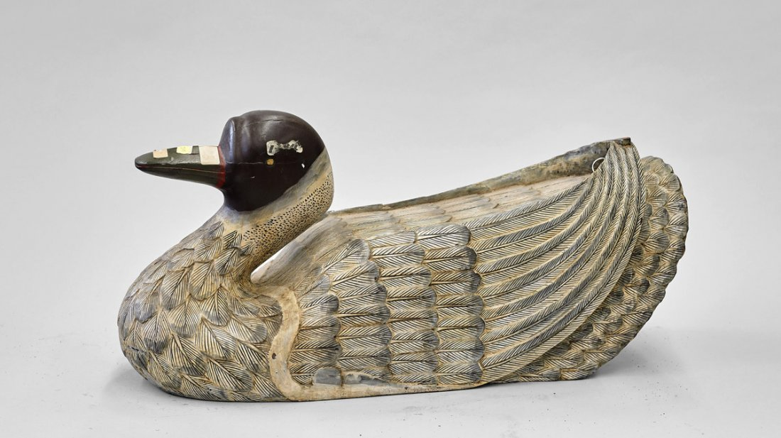 Large Chinese Carved Wood Duck