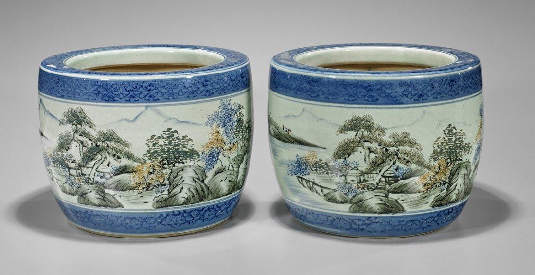 Pair Antique Japanese Porcelain Hibachis