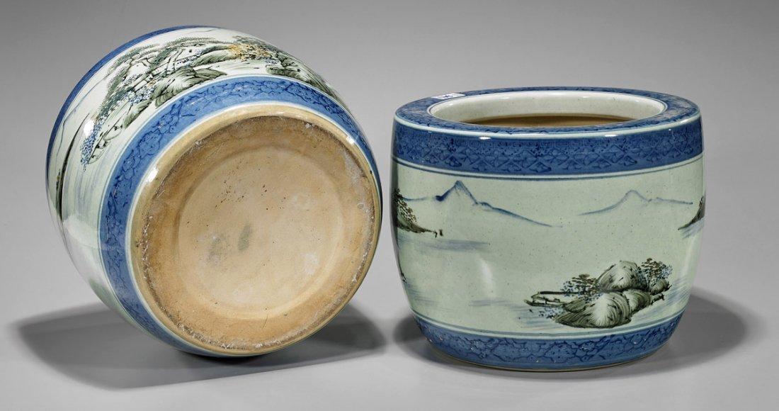 Pair Antique Japanese Porcelain Hibachis - 2