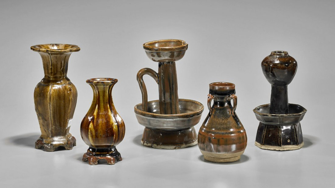 Five Jin Dynasty Henan Glazed Vessels