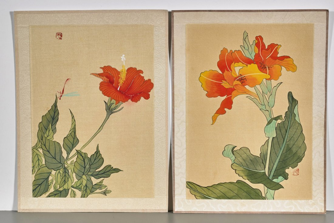 Ten Chinese Silk Flower Paintings