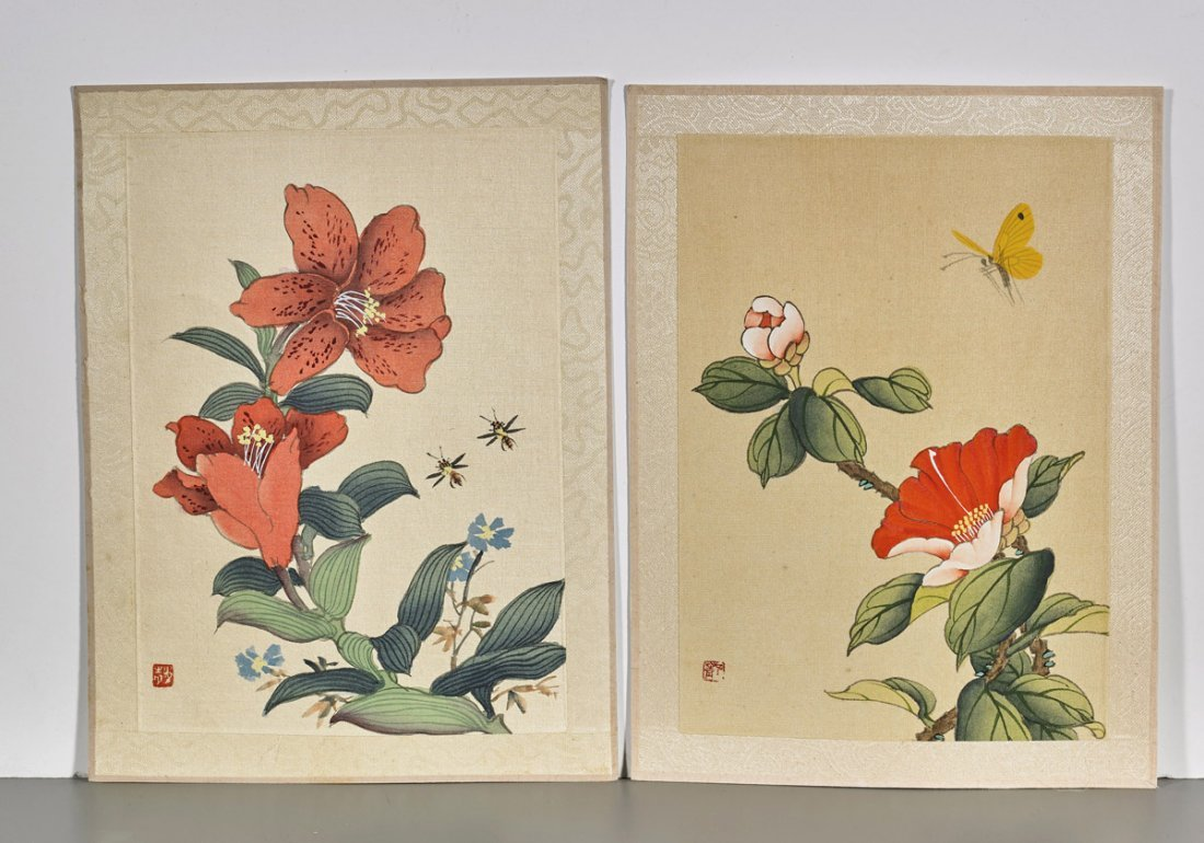 Ten Chinese Silk Flower Paintings - 2
