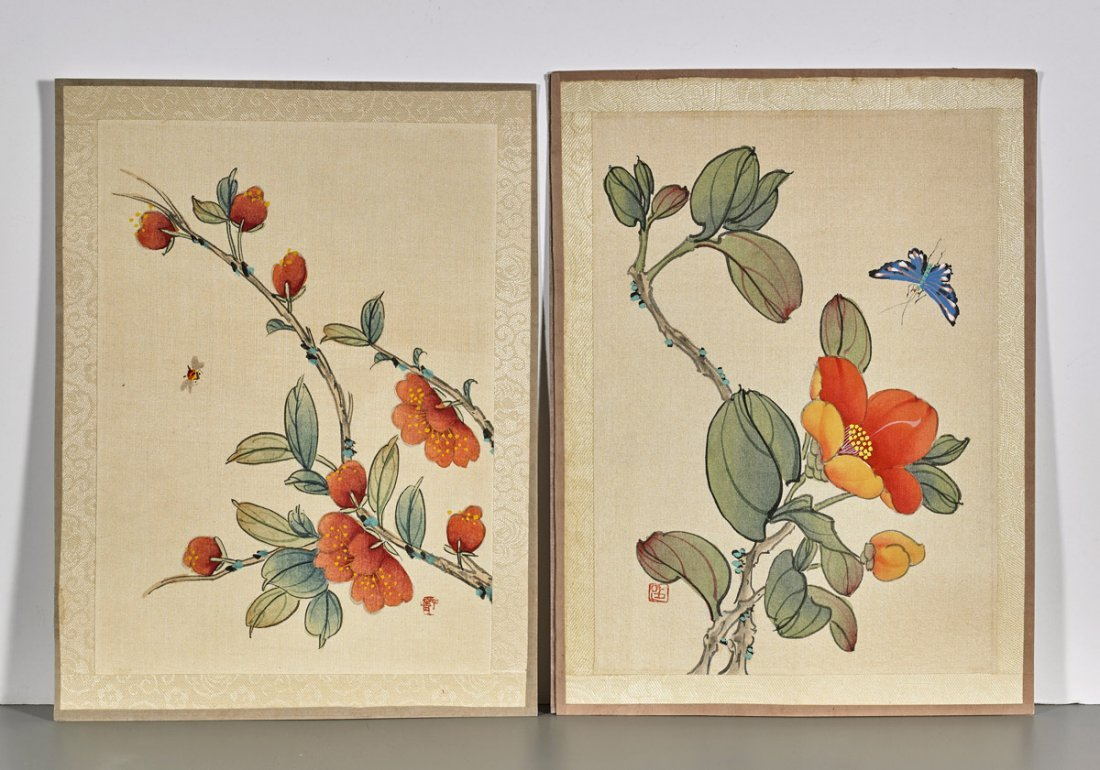 Ten Chinese Silk Flower Paintings - 3