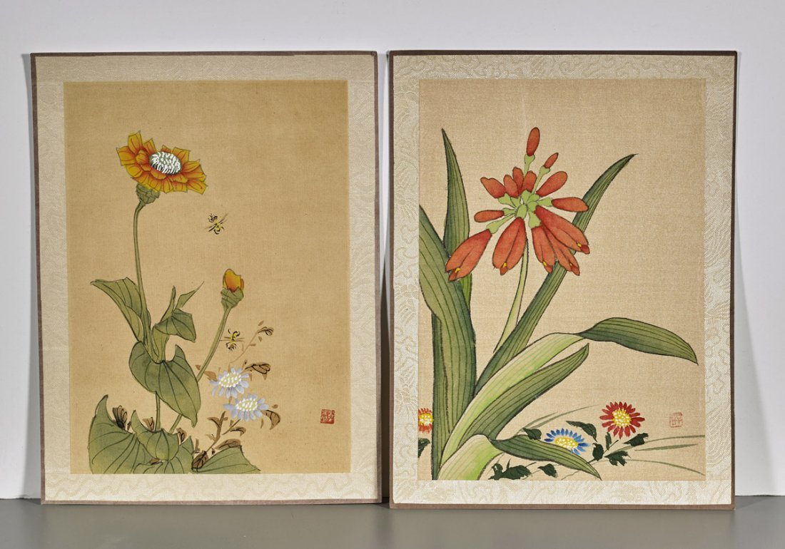 Ten Chinese Silk Flower Paintings - 4