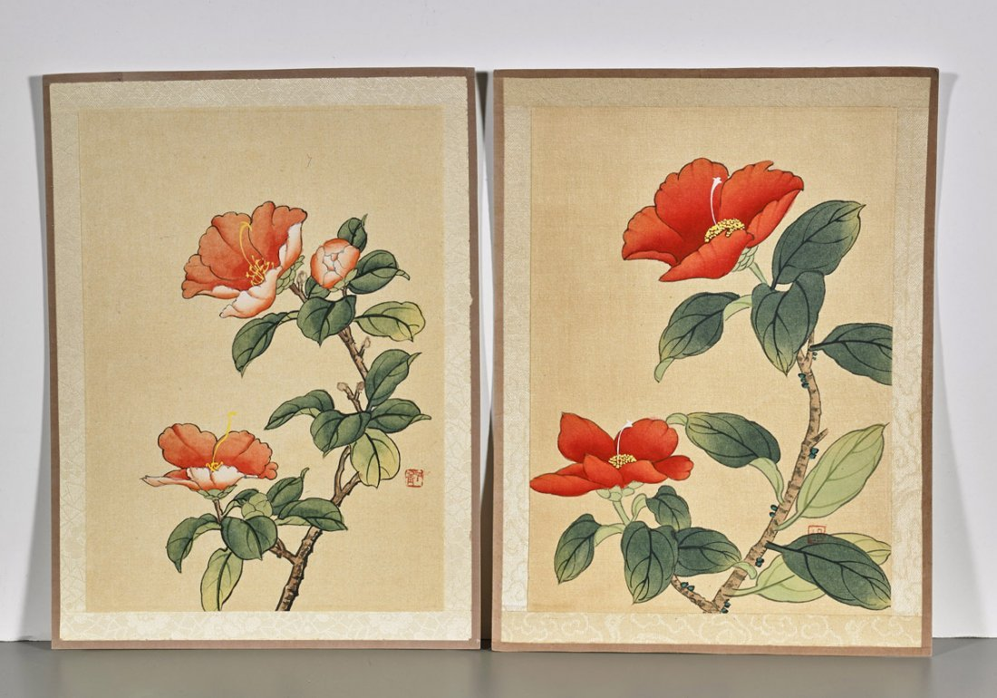 Ten Chinese Silk Flower Paintings - 5