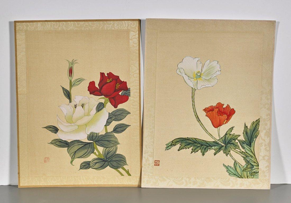 Ten Chinese Silk Flower Paintings