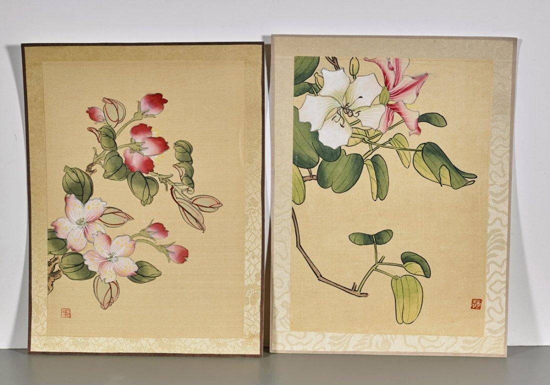Ten Chinese Silk Flower Paintings - 2